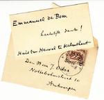 Emmanuel de Bom - handgeschreven kaartje - Emmanuel de Bom