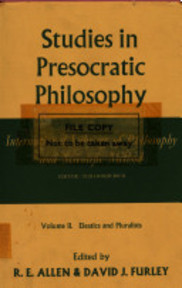 Studies in Presocratic Philosophy - David J. Furley, R. E. Allen (ISBN 9780710079497)