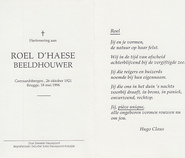 Overlijdensbericht - Roel D'Haese - CLAUS, Hugo