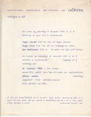 Celbeton december 1961 - Uitnodiging - CLAUS, Hugo; WALRAVENS, Jan