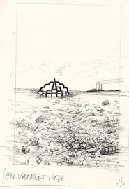 Jan Vanriet- Originele tekening 'Jaar van het dorp' - VANRIET, Jan