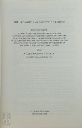 Economy and society of Pompeii - W.M. Jongman