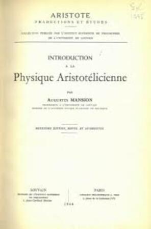 Introduction a la Physique Aristotélicienne. - Paul Mansion