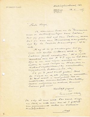 Ernest CLAES aan Hugo CLAUS - brief + kaartje - CLAES, Ernest