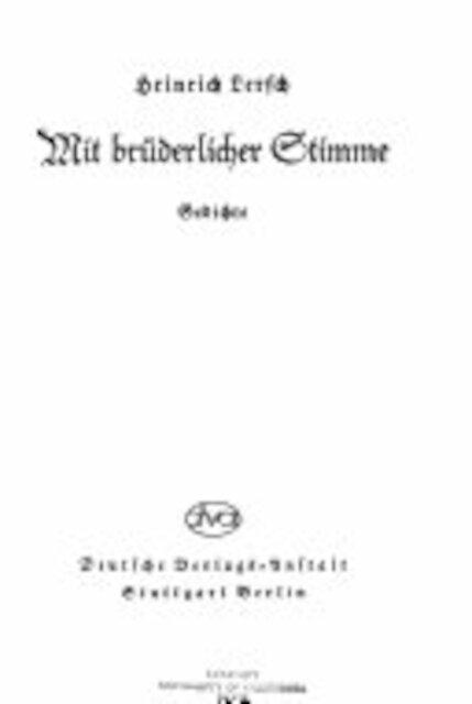 Mit brüderlicher Stimme - Heinrich Lersch